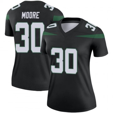 Women's Nike New York Jets Jalin Moore Stealth Black Color Rush Jersey - Legend