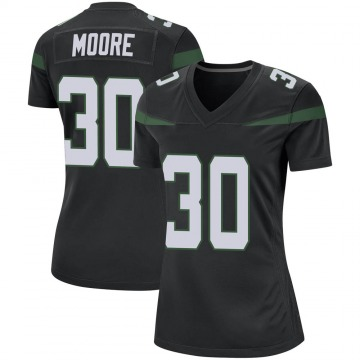 Women's Nike New York Jets Jalin Moore Stealth Black Jersey - Game