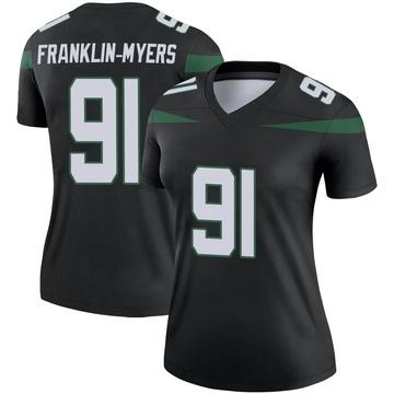 Women's Nike New York Jets John Franklin-Myers Stealth Black Color Rush Jersey - Legend