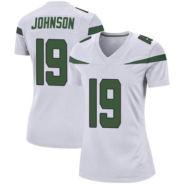 Women's Nike New York Jets Keyshawn Johnson Spotlight White Jersey - Game