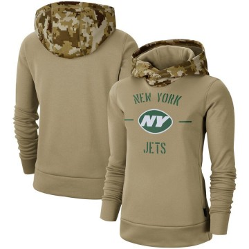 Women's Nike New York Jets Khaki 2019 Salute to Service Therma Pullover Hoodie -