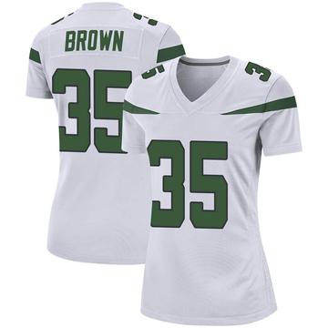 Women's Nike New York Jets Kyron Brown Spotlight White Jersey - Game