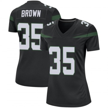 Women's Nike New York Jets Kyron Brown Stealth Black Jersey - Game