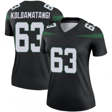 Women's Nike New York Jets Leo Koloamatangi Stealth Black Color Rush Jersey - Legend