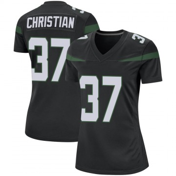 Women's Nike New York Jets Marqui Christian Stealth Black Jersey - Game