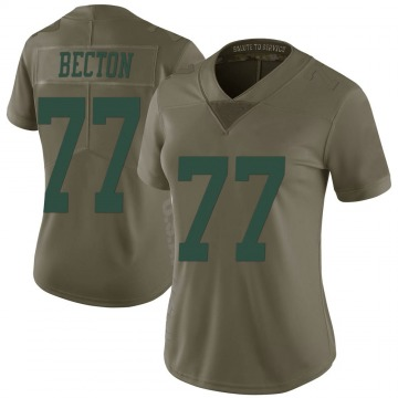 Women's Nike New York Jets Mekhi Becton Green 2017 Salute to Service Jersey - Limited