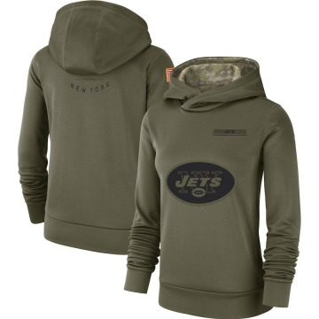 Women's Nike New York Jets Olive 2018 Salute to Service Team Logo Performance Pullover Hoodie -