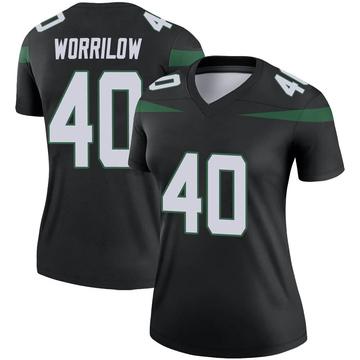 Women's Nike New York Jets Paul Worrilow Stealth Black Color Rush Jersey - Legend