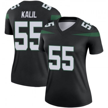 Women's Nike New York Jets Ryan Kalil Stealth Black Color Rush Jersey - Legend