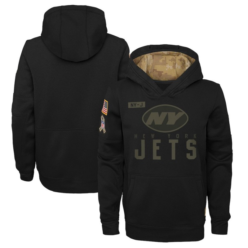 Youth Nike New York Jets Black 2020 Salute to Service Pullover Performance Hoodie -