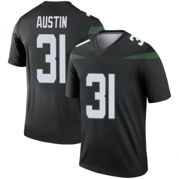 Youth Nike New York Jets Blessuan Austin Stealth Black Color Rush Jersey - Legend
