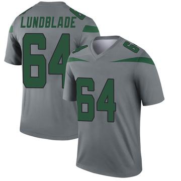 Youth Nike New York Jets Brad Lundblade Gray Inverted Jersey - Legend