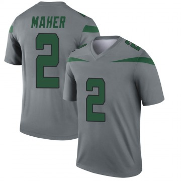 Youth Nike New York Jets Brett Maher Gray Inverted Jersey - Legend
