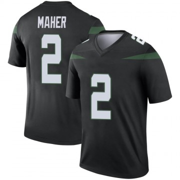 Youth Nike New York Jets Brett Maher Stealth Black Color Rush Jersey - Legend