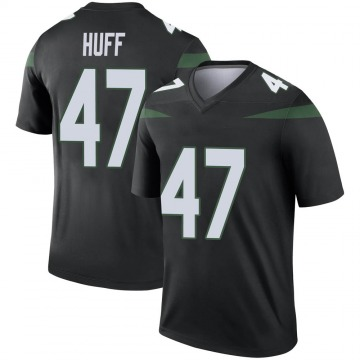 Youth Nike New York Jets Bryce Huff Stealth Black Color Rush Jersey - Legend