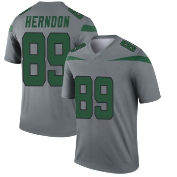 Youth Nike New York Jets Chris Herndon Gray Inverted Jersey - Legend