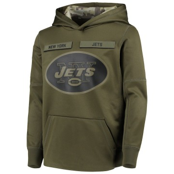 Youth Nike New York Jets Green 2018 Salute to Service Pullover Performance Hoodie -