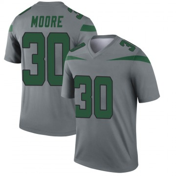 Youth Nike New York Jets Jalin Moore Gray Inverted Jersey - Legend