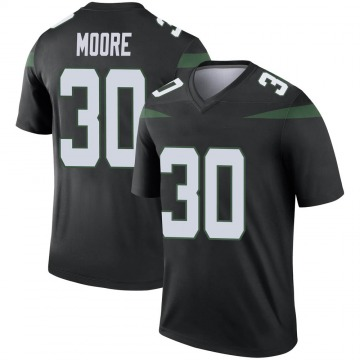 Youth Nike New York Jets Jalin Moore Stealth Black Color Rush Jersey - Legend