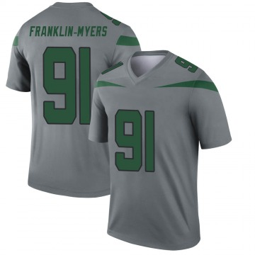 Youth Nike New York Jets John Franklin-Myers Gray Inverted Jersey - Legend