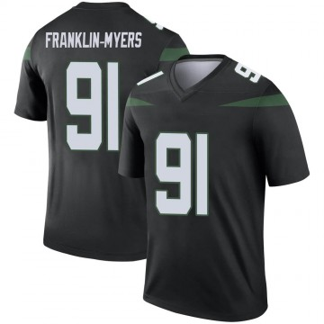 Youth Nike New York Jets John Franklin-Myers Stealth Black Color Rush Jersey - Legend