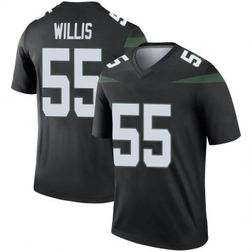 Youth Nike New York Jets Jordan Willis Stealth Black Color Rush Jersey - Legend