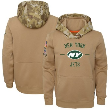 Youth Nike New York Jets Khaki 2019 Salute to Service Therma Pullover Hoodie -