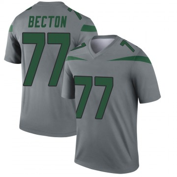 Youth Nike New York Jets Mekhi Becton Gray Inverted Jersey - Legend