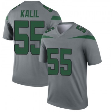 Youth Nike New York Jets Ryan Kalil Gray Inverted Jersey - Legend