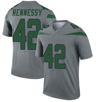 Youth Nike New York Jets Thomas Hennessy Gray Inverted Jersey - Legend